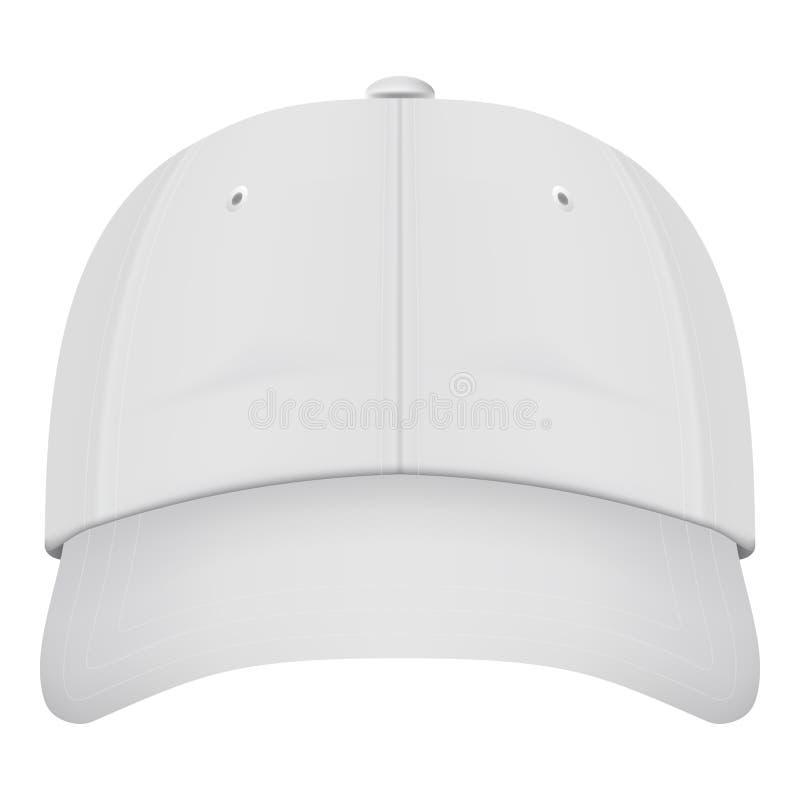 Front View White Baseball Cap realístico isolado em um fundo branco Ilustração do vetor ilustração royalty free