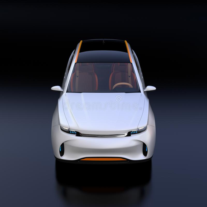 Front view of white Electric SUV concept car isolated on black background stock illustration