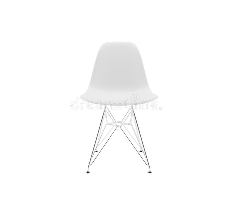 Front view. White plastic dining chair stock photography