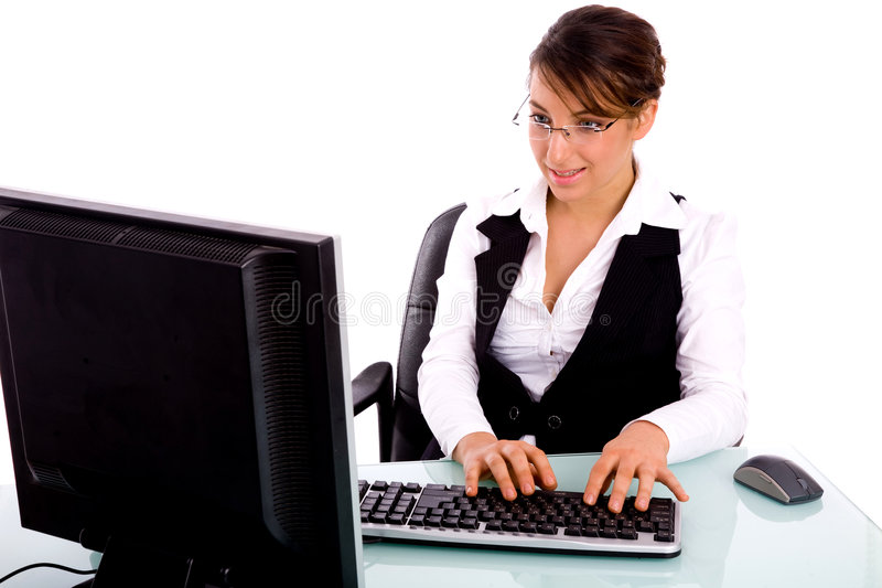 Front view of woman executive working on computer royalty free stock image