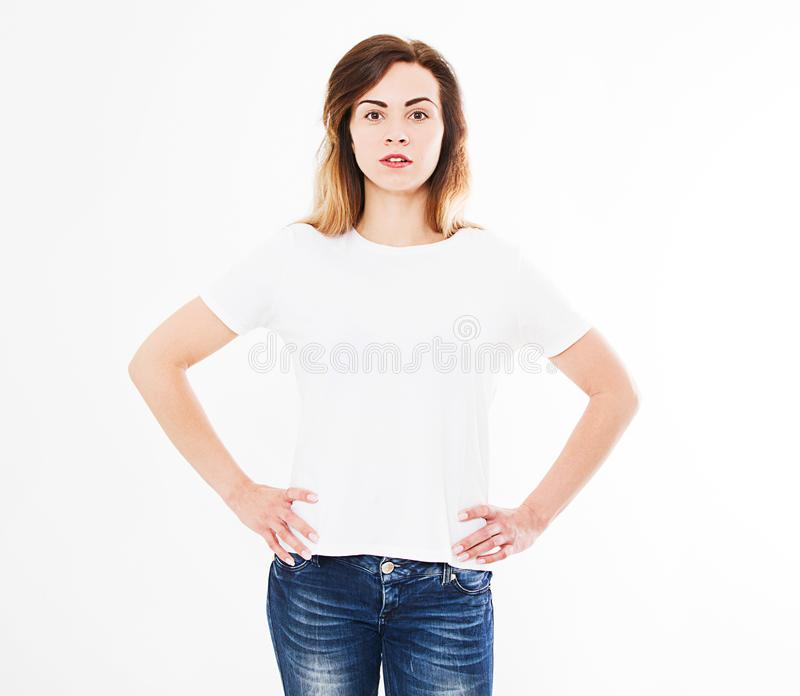 Front view woman in t shirt isolated on white background.Mock up for design. Copy space. Template. Blank.  stock photos