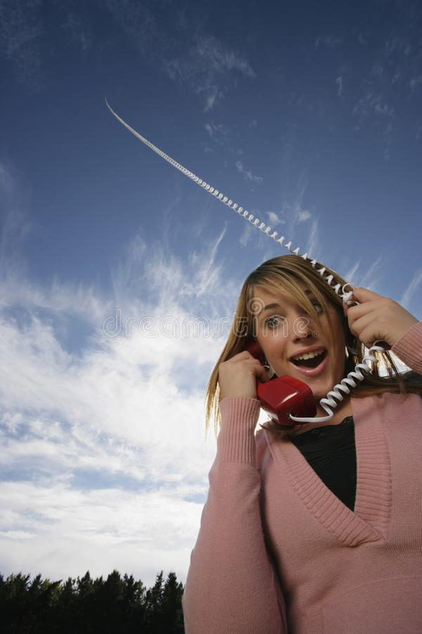 Download Front View Of Woman Talking On Phone Stock Image - Image: 14846161