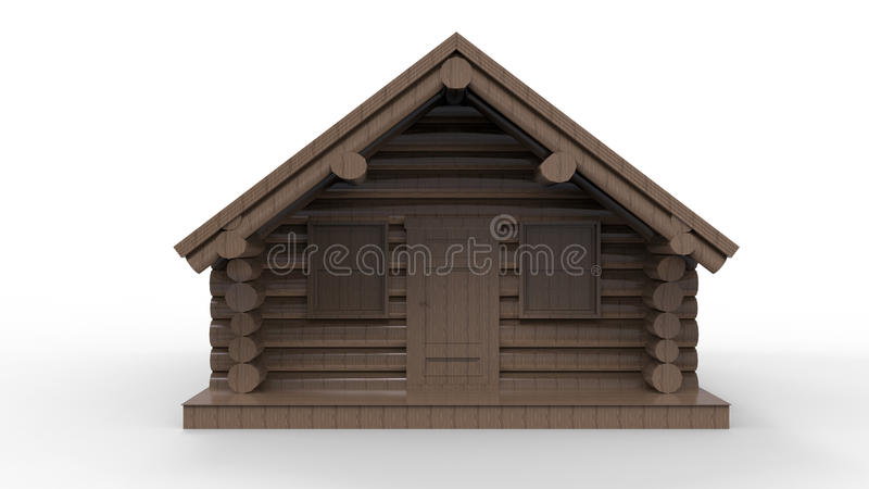 Front view - wooden cabin vector illustration