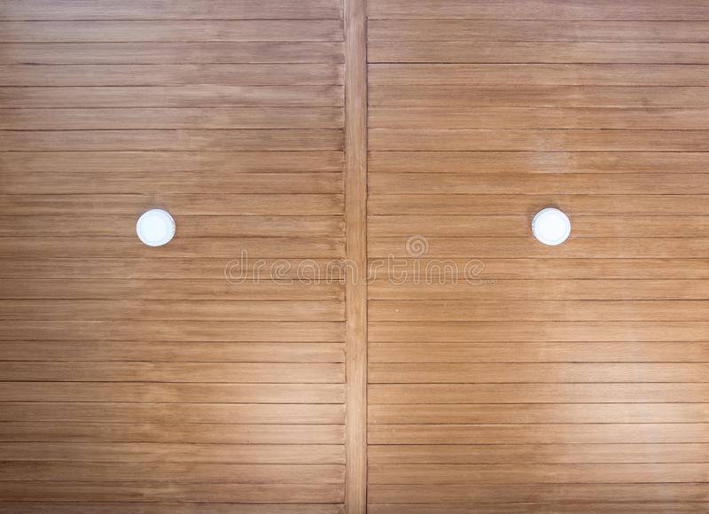 Front view of wooden plank ceiling royalty free stock image