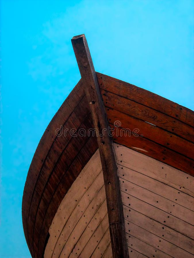 The hull of an old wooden boat stock photography
