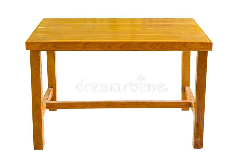 Front view of wooden table isolated on white royalty free stock photos