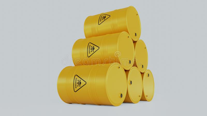 Front view of yellow barrel with radiation sign isolated on white. stock photos
