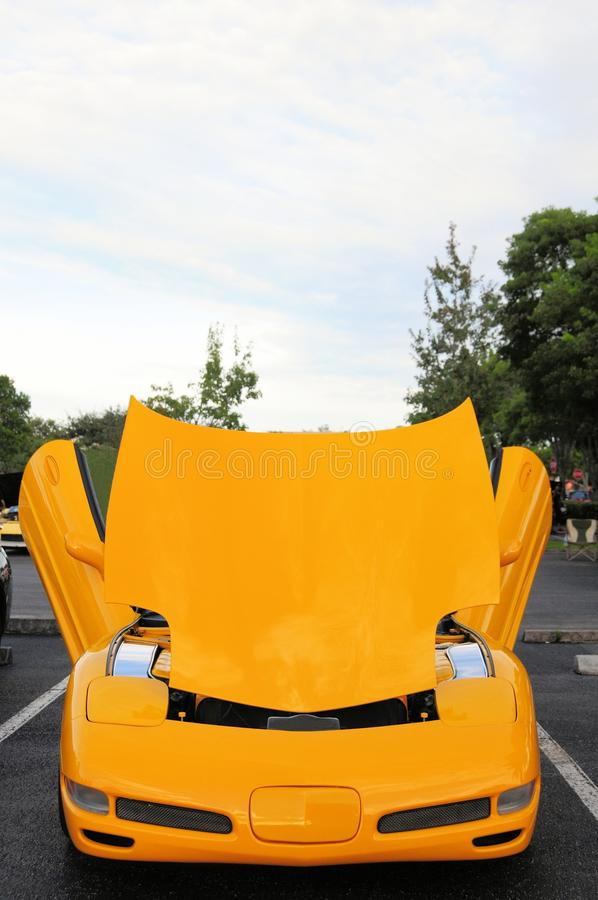 Front view of yellow sports car stock photos