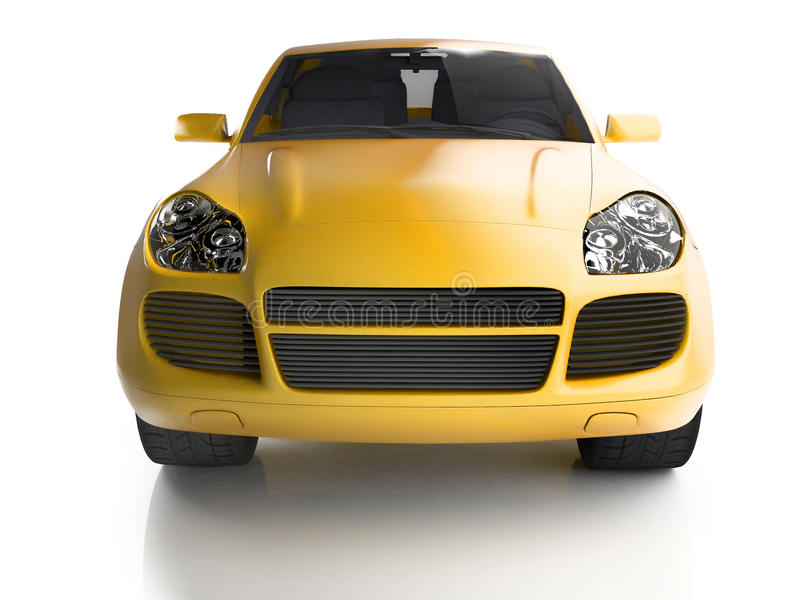 Front view of yellow SUV royalty free stock photos