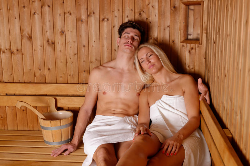 Download Young Couple Enjoying Sauna Stock Image - Image: 30039391