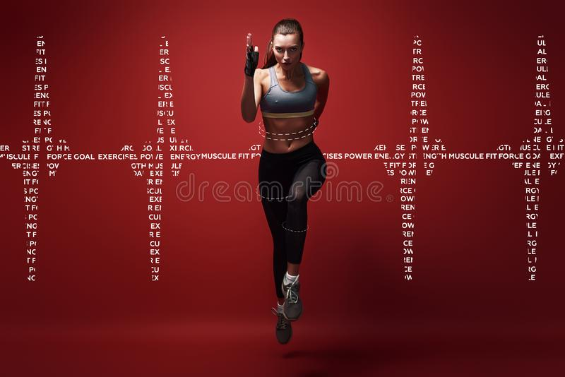 Achieving best results. Young sportswoman sprinting towards camera over red background. Graphic drawing. stock illustration