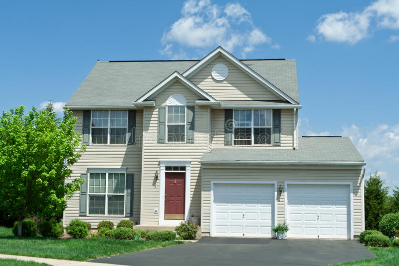 Front Vinyl Siding Single Family House Home Md Stock Image
