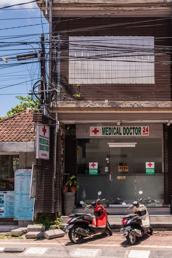 Front von Arztb?ro, Ubud Bali Indonesien lizenzfreies stockfoto