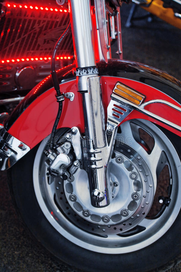 Front wheel with disc brake stock images