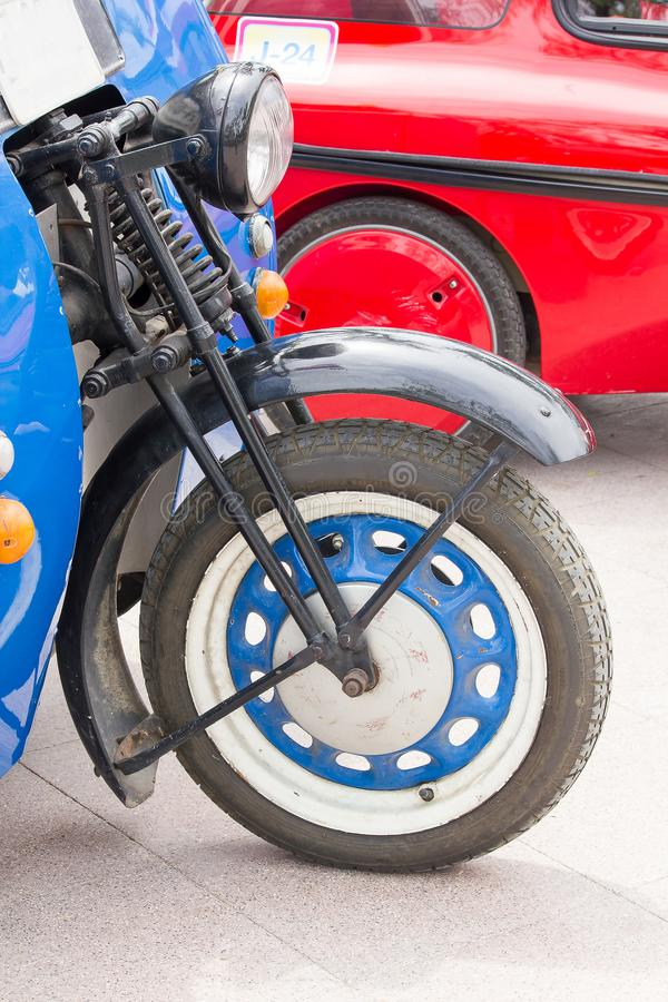 Front wheels of antique cars royalty free stock photos