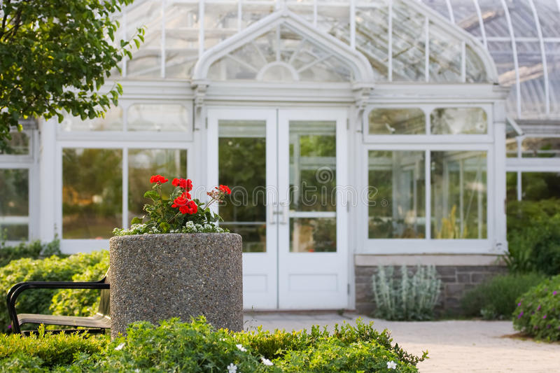 Front of white greenhouse royalty free stock photo