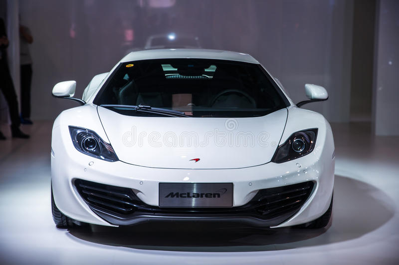 Front of white Mclaren Roadster. Take on the 16th Chongqing International Motor Show, June 6th-12th, 2014. There are many international famous brand companies royalty free stock photography