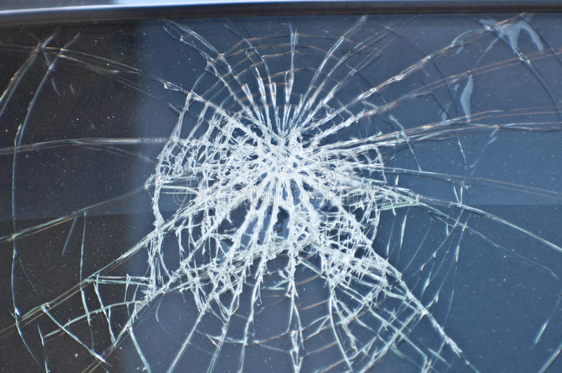Front window the car crashed. stock photography