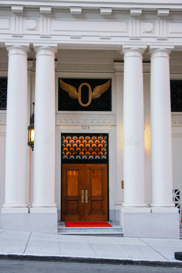 Download Front Wooden Door Of Classical Building With Four Pillars Stock Photo - Image: 51230987 & Front Wooden Door Of Classical Building With Four Pillars Stock ... Pezcame.Com