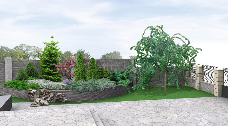 Front Yard Planting Of Greenery 3d Rendering Stock