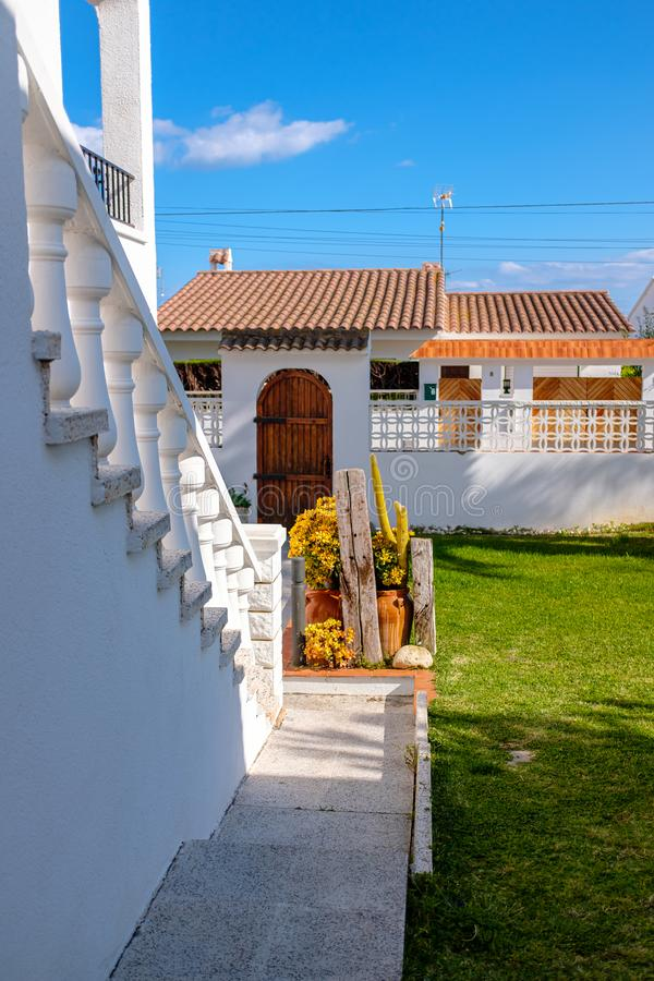Front yard of a traditional Spanish home royalty free stock images