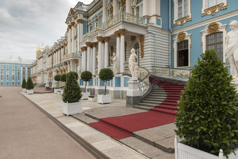 Frontage of Catherine Palace St Petersburg Russia. Baroque 18th-century palace with large grounds where Russian royal family spent their summers stock photography