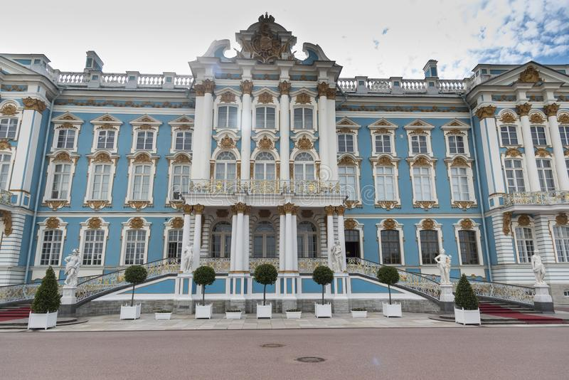 Frontage of Catherine Palace St Petersburg Russia. Baroque 18th-century palace with large grounds where Russian royal family spent their summers stock image