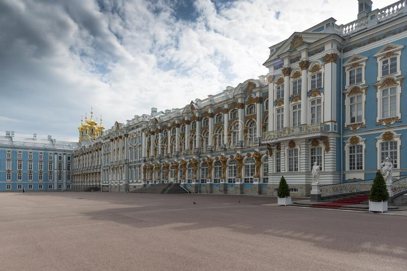 Frontage of Catherine Palace St Petersburg Russia. Baroque 18th-century palace with large grounds where Russian royal family spent their summers stock photos