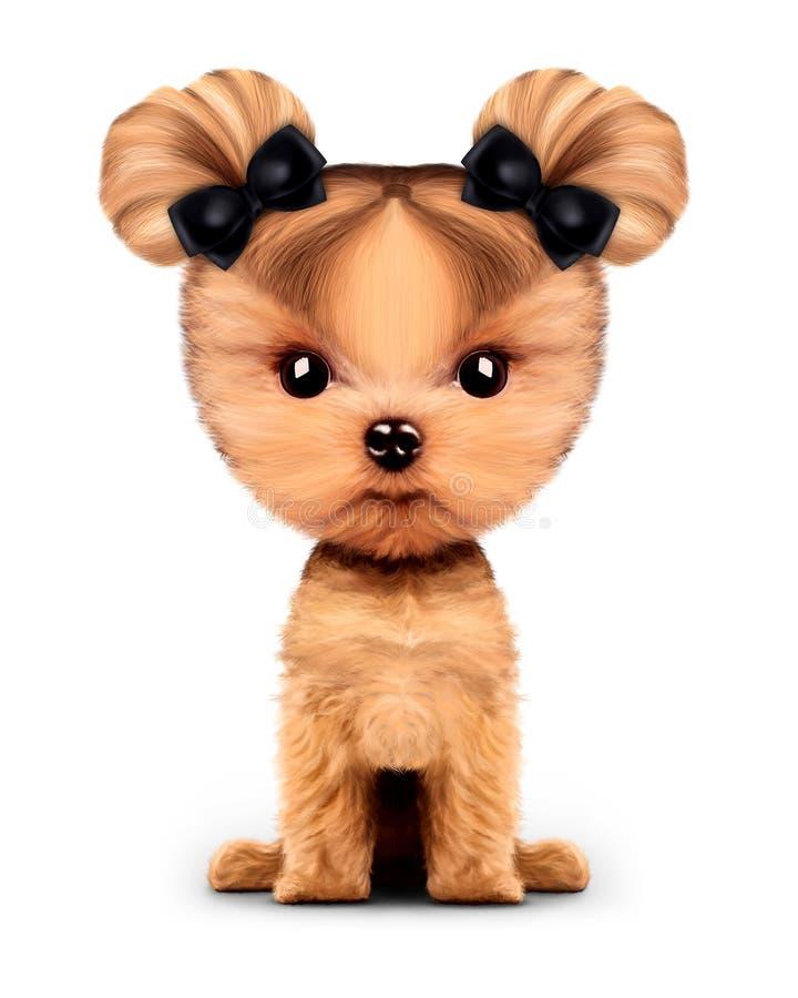 Frontal прелестного щенка сидя, изолированный на белизне иллюстрация штока