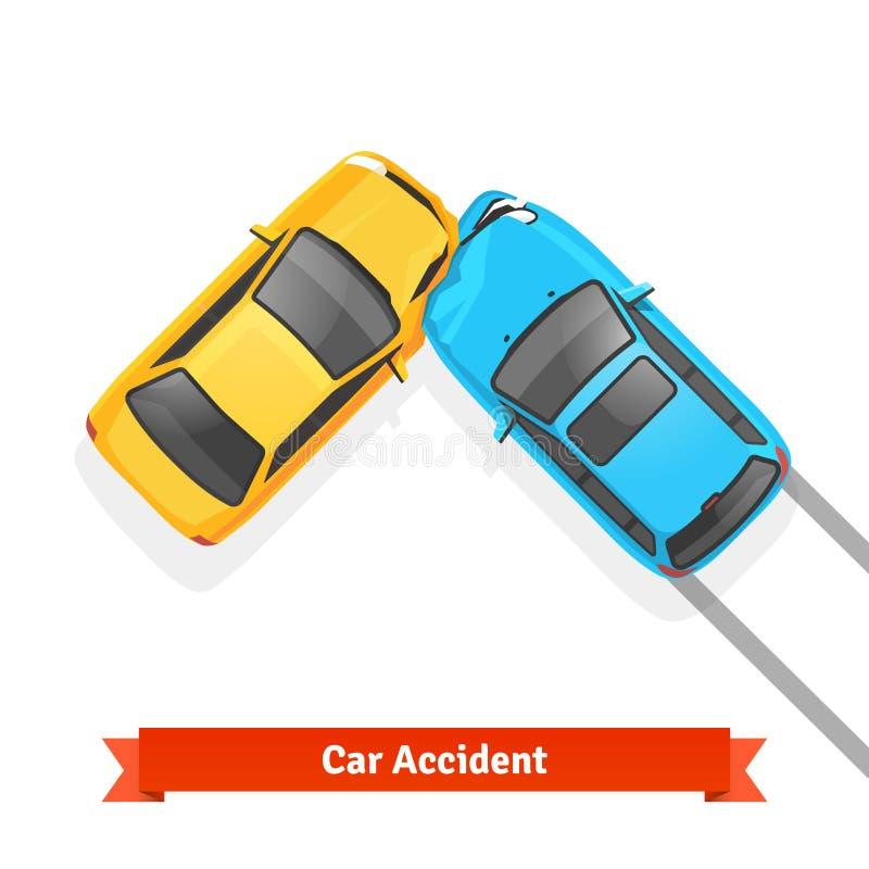Frontal accidente de carretera del choque de coche de 90 grados stock de ilustración