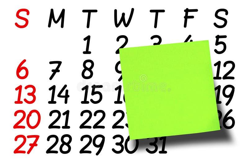 Frontal Blank Green Postit Post-it Calendar stock photos