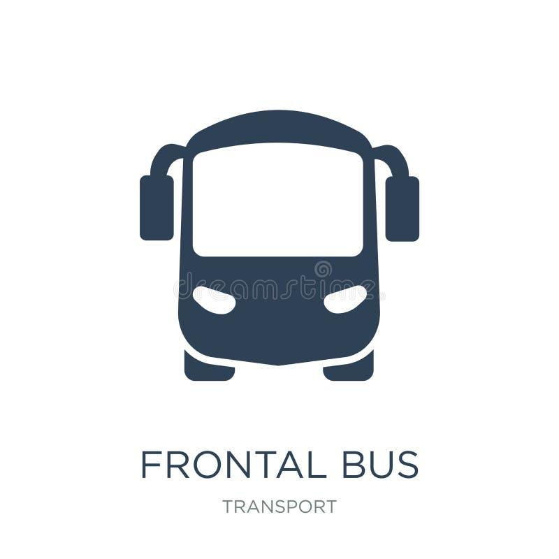 frontal busssymbol i moderiktig designstil Frontal busssymbol som isoleras på vit bakgrund frontal modern bussvektorsymbol som är royaltyfri illustrationer