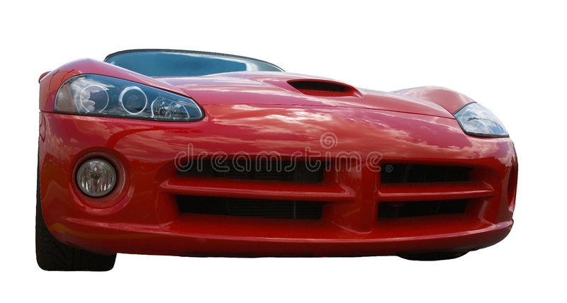 Frontal d'une voiture de sport de rouge images libres de droits