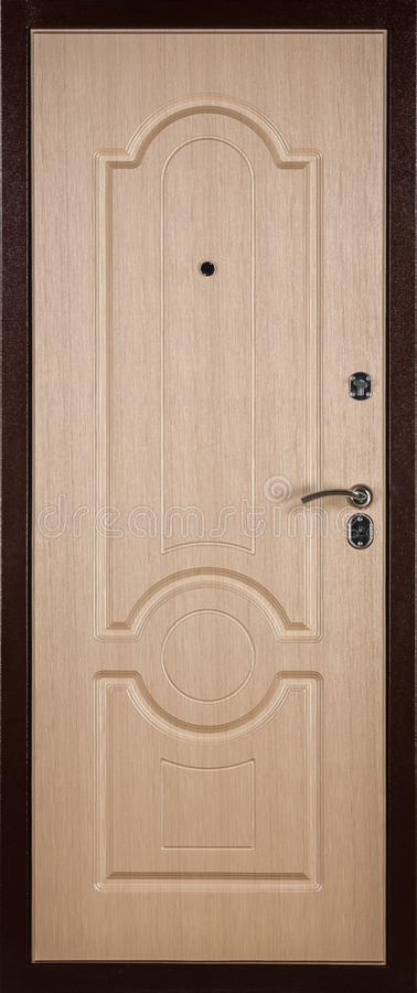 Frontal image of a closed beige door, isolated on white background. Frontal image of a closed door, isolated on white background, wood, wooden, decoration stock images