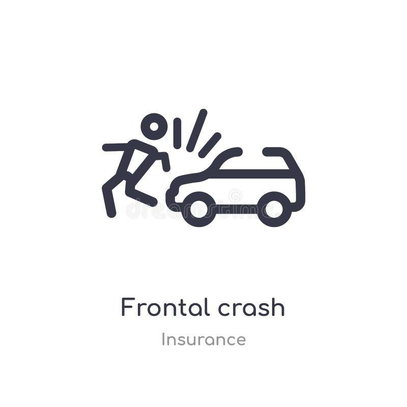frontal kraschöversiktssymbol isolerad linje vektorillustration fr?n f?rs?kringsamling frontal kraschsymbol för redigerbar tunn s stock illustrationer