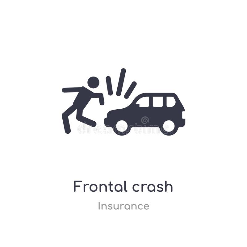 Frontal kraschsymbol isolerad frontal illustration för kraschsymbolsvektor från försäkringsamling redigerbart sjunga symbolet kan vektor illustrationer