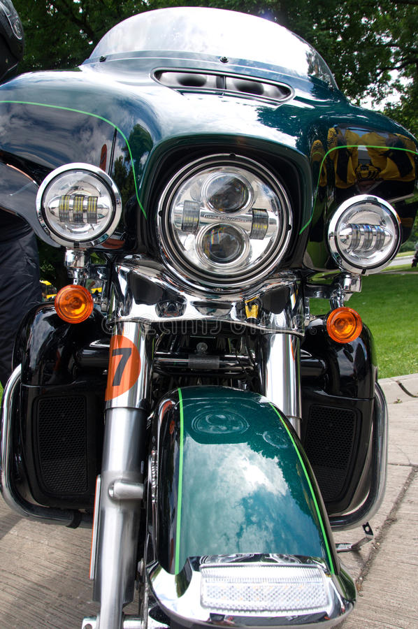 Frontal lights and turn indicators of the Harley Davidson motorcycle stock photo