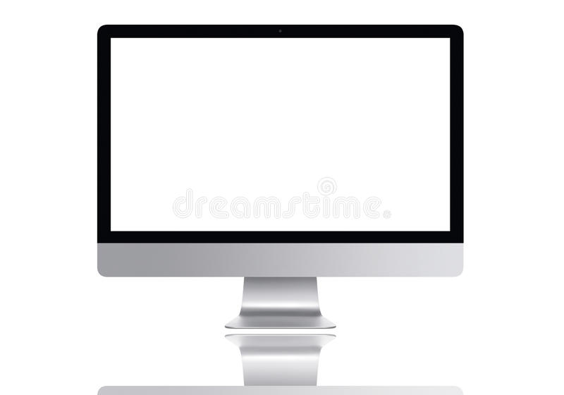 Frontal Mac computer screen. Image monoblock generic PC on the premise white with reflection royalty free stock photos