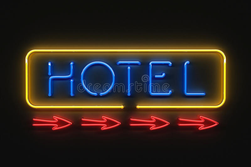 Frontal neon hotel sign. Neon hotel sign, lighting at night stock illustration