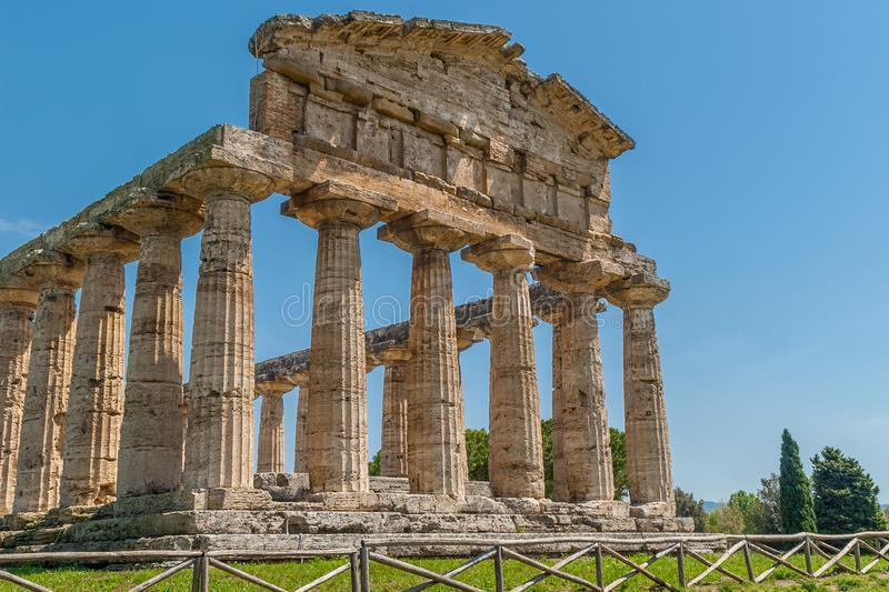 Frontal part of the Temple of Athena, Greek Goddess of wisdom. Arts and war, taken in the archaeological area of Paestum royalty free stock photography