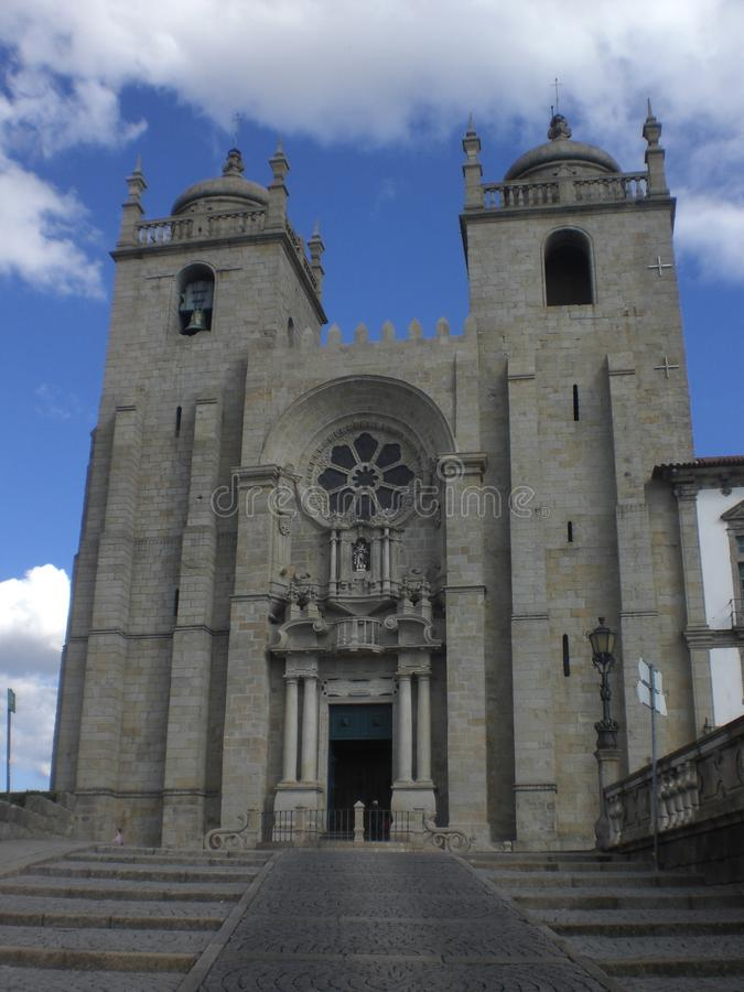 Frontal view of ancient church located in portugal. Showing the architecture of past times royalty free stock images