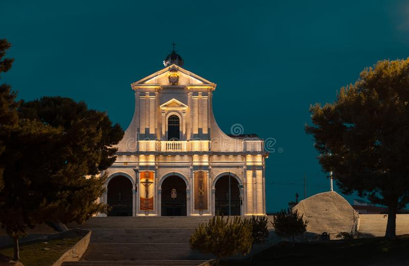 Frontal view of the Bonaria church of Cagliari, capital of the r stock image