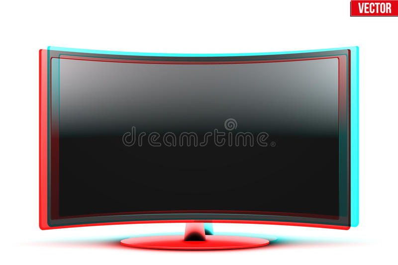 Frontal view of curved widescreen led or lcd tv with visual stereo effect vector illustration