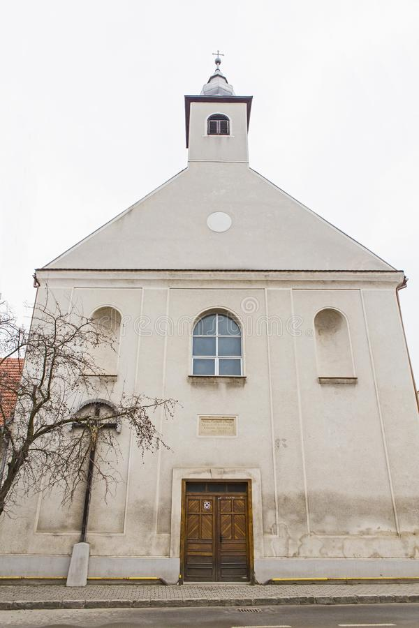 Frontal view of Franciscan church. From Alba Iulia stock photography