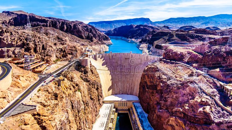 Frontal View of the Hoover Dam from the Mike O`Callaghan–Pat Tillman Memorial Bridge. Frontal view of the Hoover Dam, a royalty free stock photos