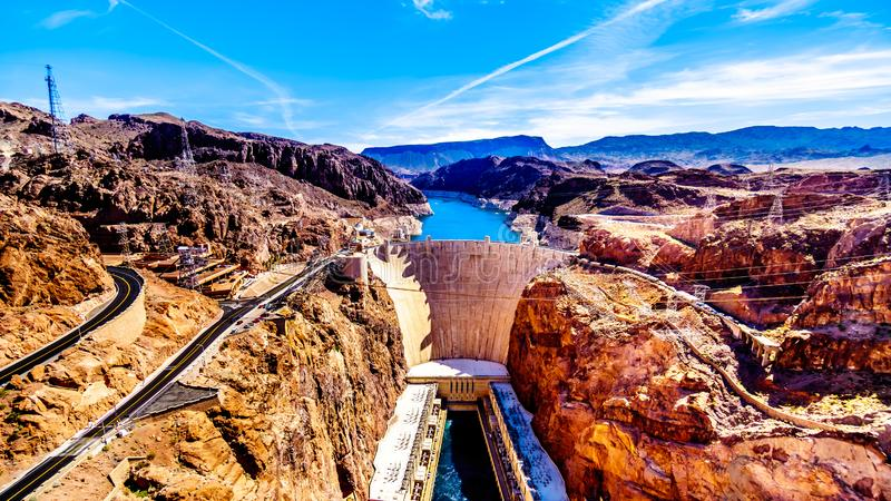 Frontal View of the Hoover Dam from the Mike O`Callaghan–Pat Tillman Memorial Bridge. Frontal view of the Hoover Dam, a stock photography