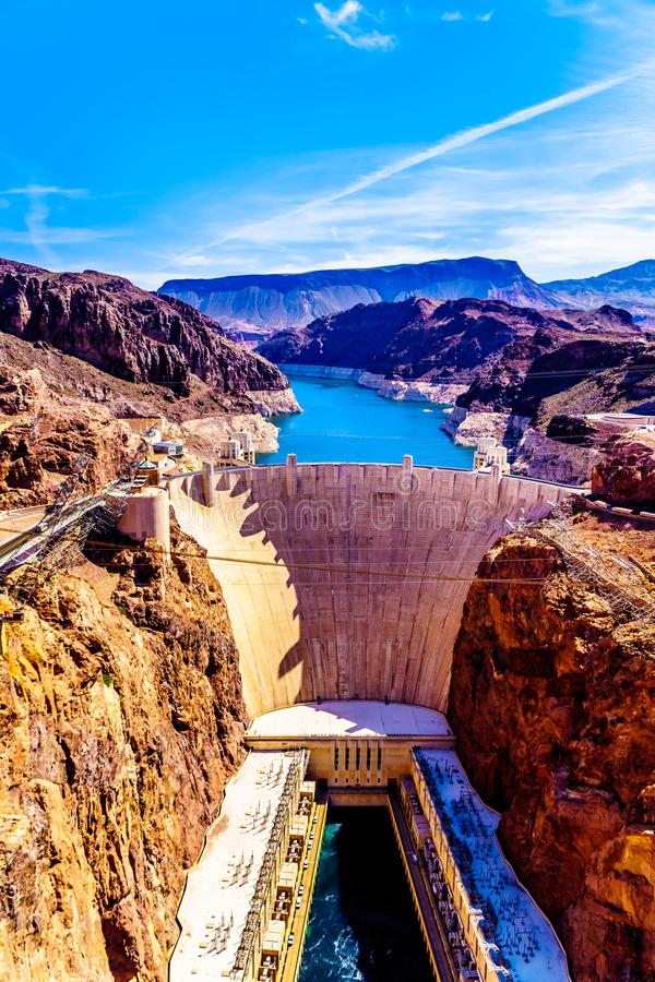 Frontal View of the Hoover Dam from the Mike O`Callaghan–Pat Tillman Memorial Bridge stock image