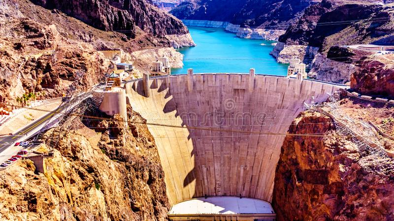 Frontal View of the Hoover Dam from the Mike O`Callaghan–Pat Tillman Memorial Bridge. Frontal view of the Hoover Dam, a royalty free stock photo