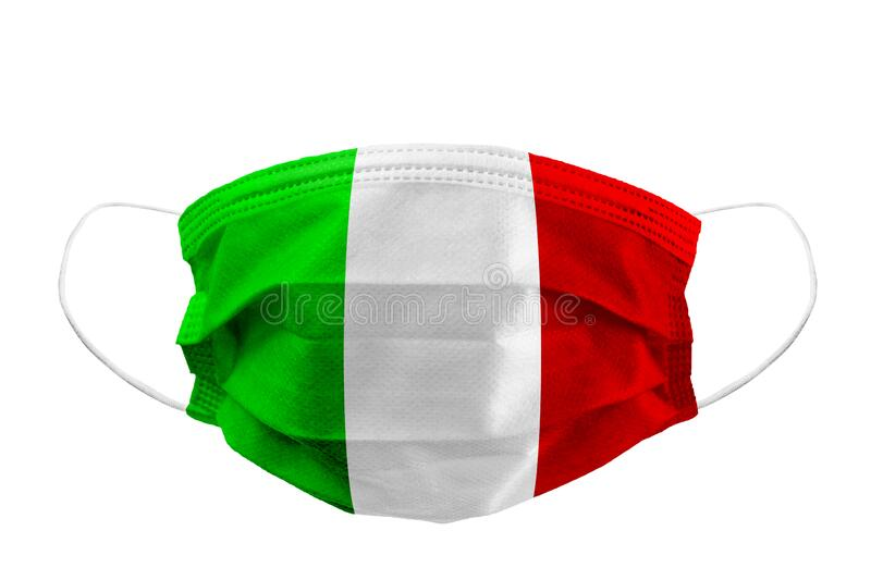 Frontal view of surgical mask italian flag isolated with rubber ear straps to cover the mouth and nose to protect face from virus royalty free stock photos