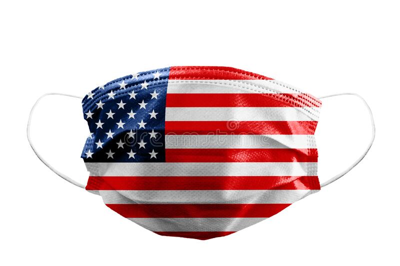 Frontal view of surgical mask USA or American flag isolated with rubber ear straps to cover the mouth and nose to protect face stock images